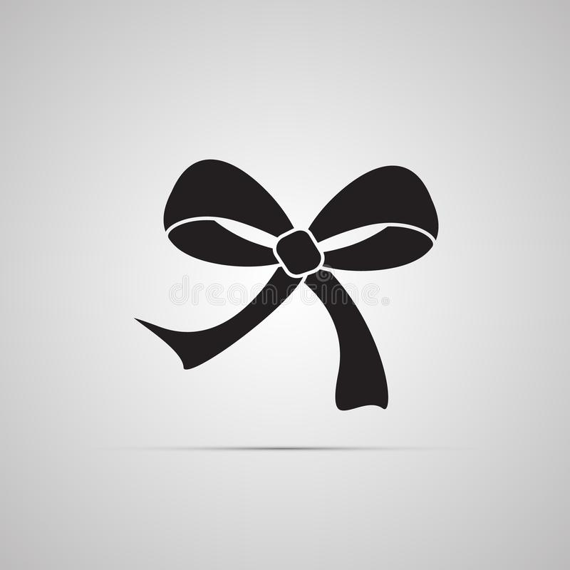Mostre em silhueta o ícone liso, projeto simples do vetor com sombra Curva com as extremidades da fita para o presente ilustração royalty free