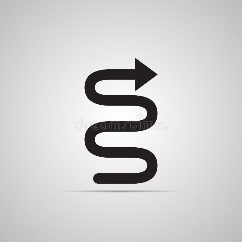 Mostre em silhueta o ícone liso, projeto simples do vetor com sombra Ponteiro de seta no formulário da serpente curvada ilustração do vetor