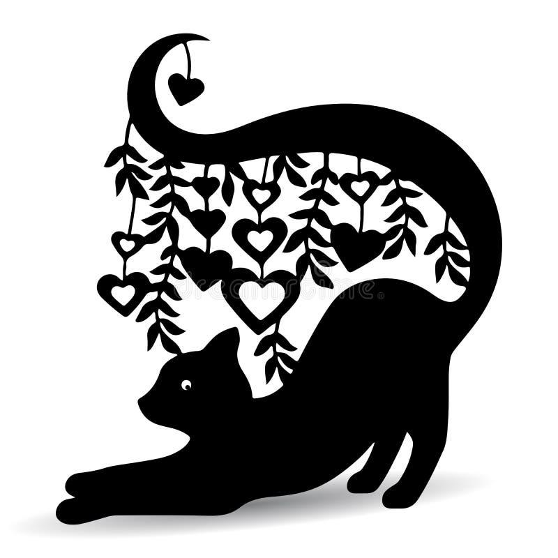 Mostre em silhueta o gato preto, ornamentado, com uma cauda longa onde os corações ilustração do vetor