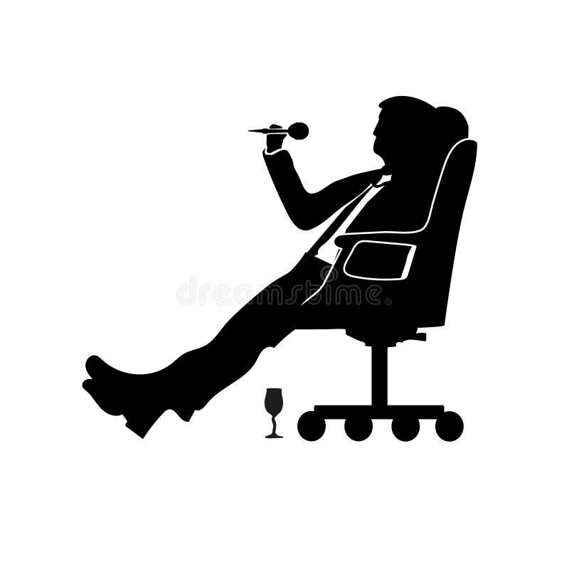 Mostre em silhueta o homem de negócios do homem que senta-se em uma cadeira moderna com um pé sobre o joelho Dardos dos jogos Suc ilustração stock