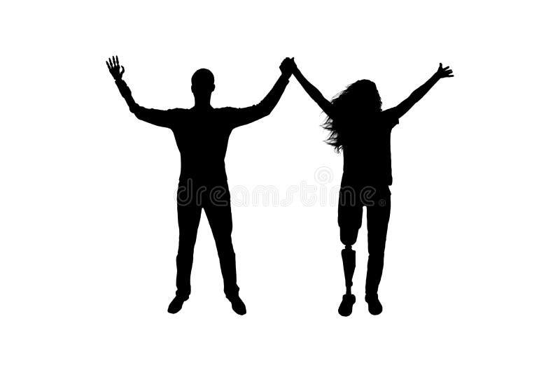 Mostre em silhueta o homem feliz e a mulher que guardam as mãos com mãos e pés artificiais dos membros ilustração stock