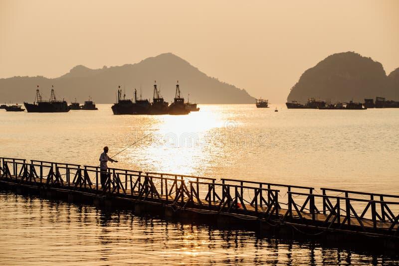 Mostre em silhueta o pescador que trava um peixe na ponte de madeira contra imagens de stock