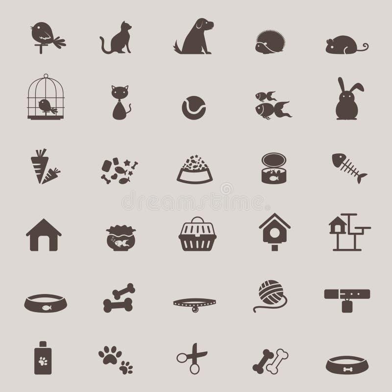 Mostre em silhueta o projeto bonito do ícone do animal e da ferramenta da loja de animais de estimação ajustado para o sho ilustração do vetor