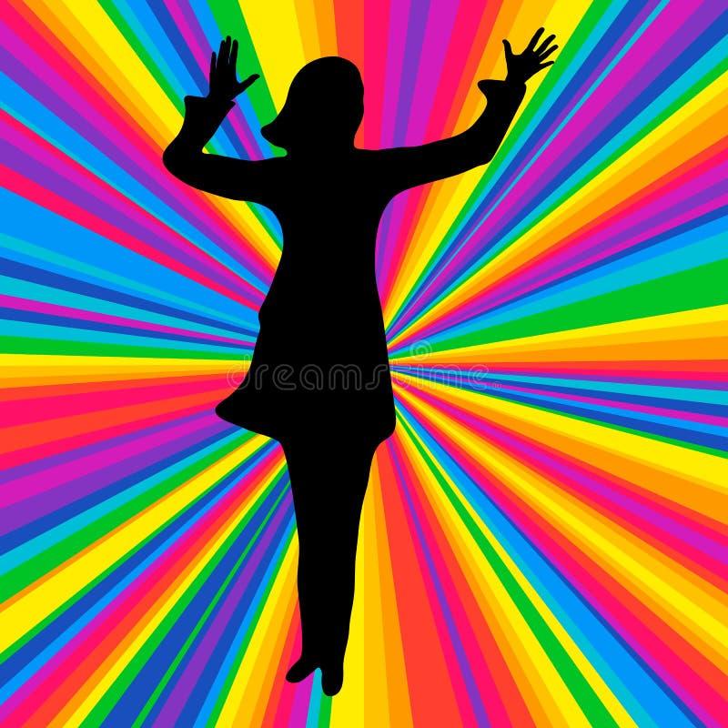 Mostre em silhueta o ser humano de dança, partido da batalha da música do vetor, raio do disco ilustração royalty free