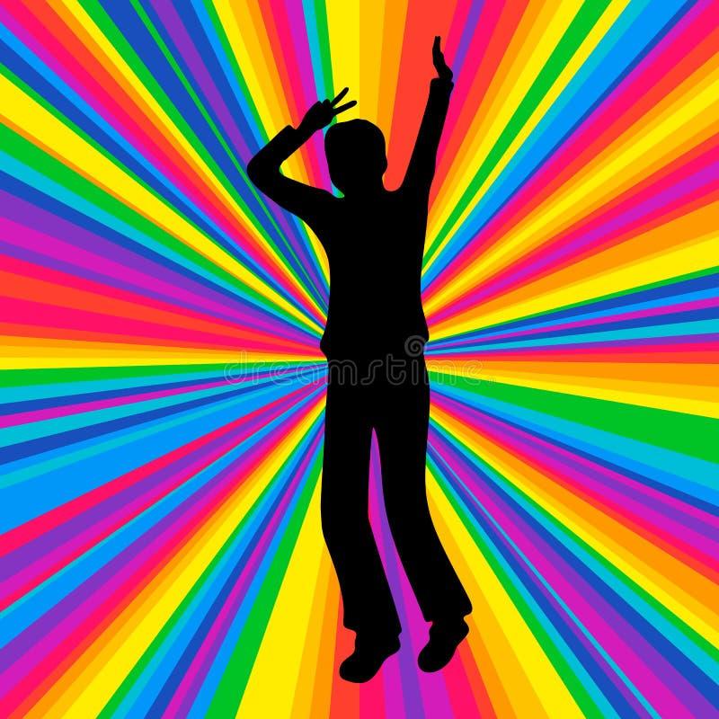 Mostre em silhueta o ser humano de dança, partido da batalha da música, raio do disco ilustração do vetor
