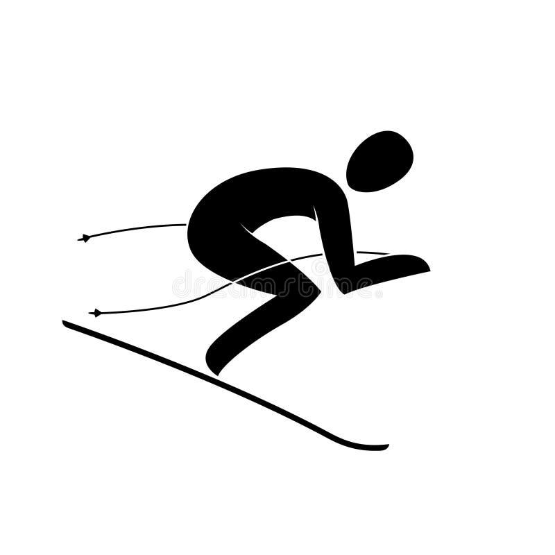 Mostre em silhueta o slalom gigante do esquiador em declive alpino que desce abaixo da inclinação isolada ilustração do vetor