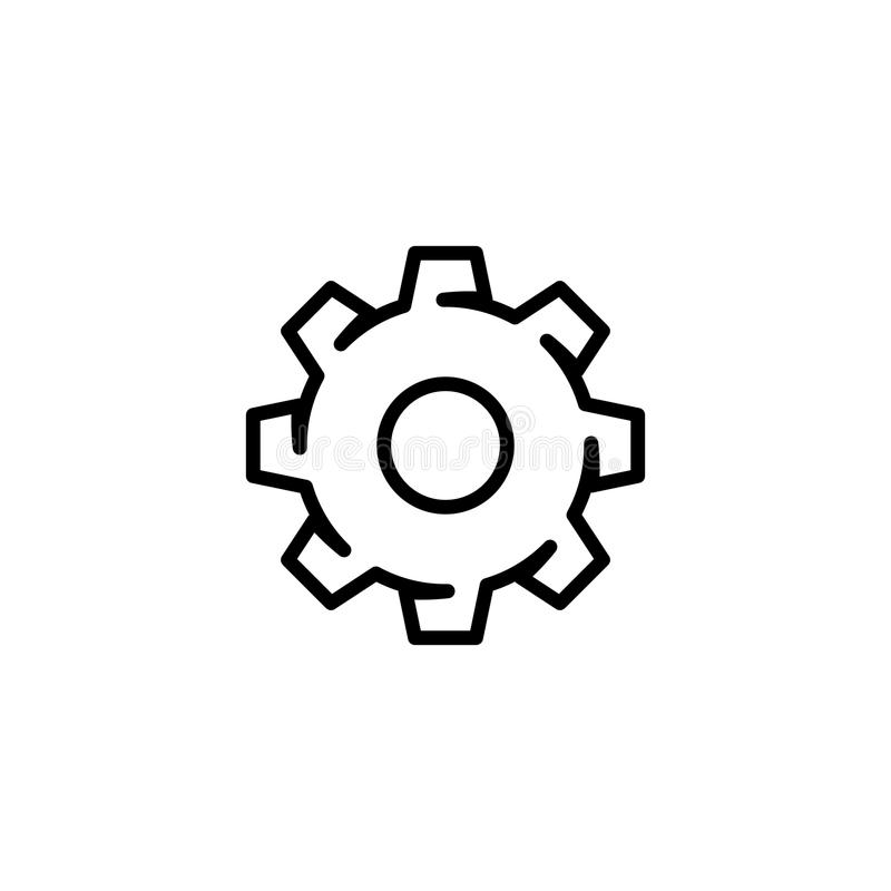 Mostre em silhueta o vetor do ícone da engrenagem do ajuste no estilo liso moderno do esboço para a Web ilustração do vetor