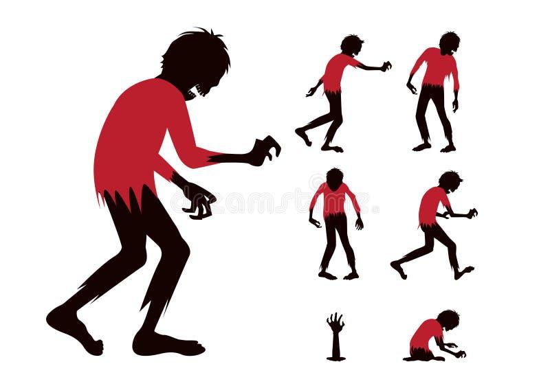 Mostre em silhueta o zombi com ação completa da diferença do corpo da camisa vermelha na coleção ilustração royalty free