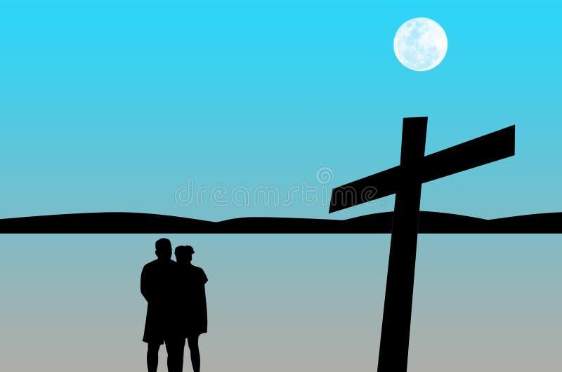 Mostre em silhueta a oração dos pares com cruz ilustração royalty free