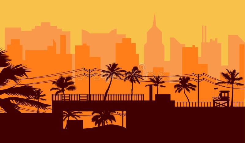Mostre em silhueta a palmeira na praia e a arquitetura da cidade sob o fundo do c?u do por do sol ilustração stock