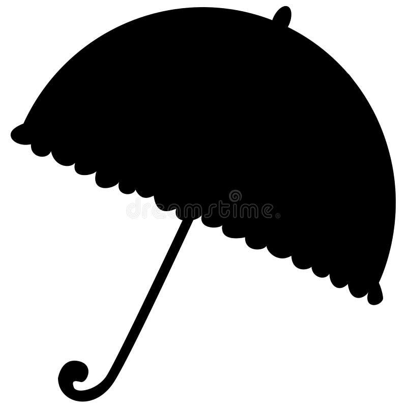 Mostre em silhueta um guarda-chuva ilustração stock