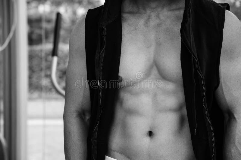 Mostre o corpo do homem considerável no revestimento, imagem preto e branco dos músculos foto de stock royalty free