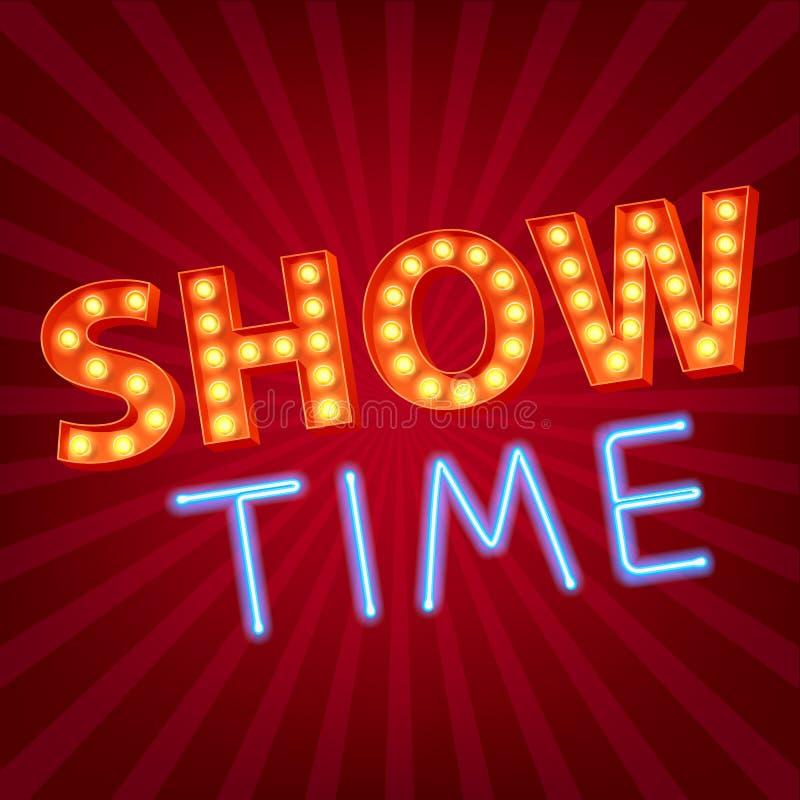 Mostre o néon do tempo e a propaganda das letras do bulbo ilustração royalty free