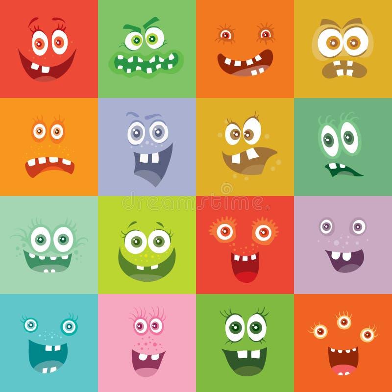 Mostri sorridenti messi Caratteri felici di sorriso del germe royalty illustrazione gratis