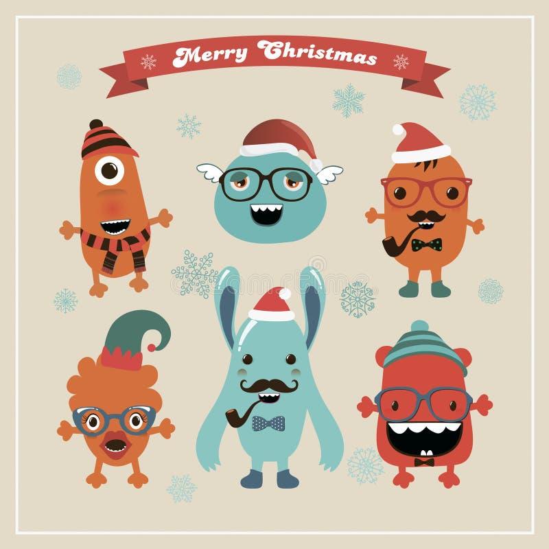 Mostri svegli di Natale dei pantaloni a vita bassa di vettore retro messi illustrazione di stock