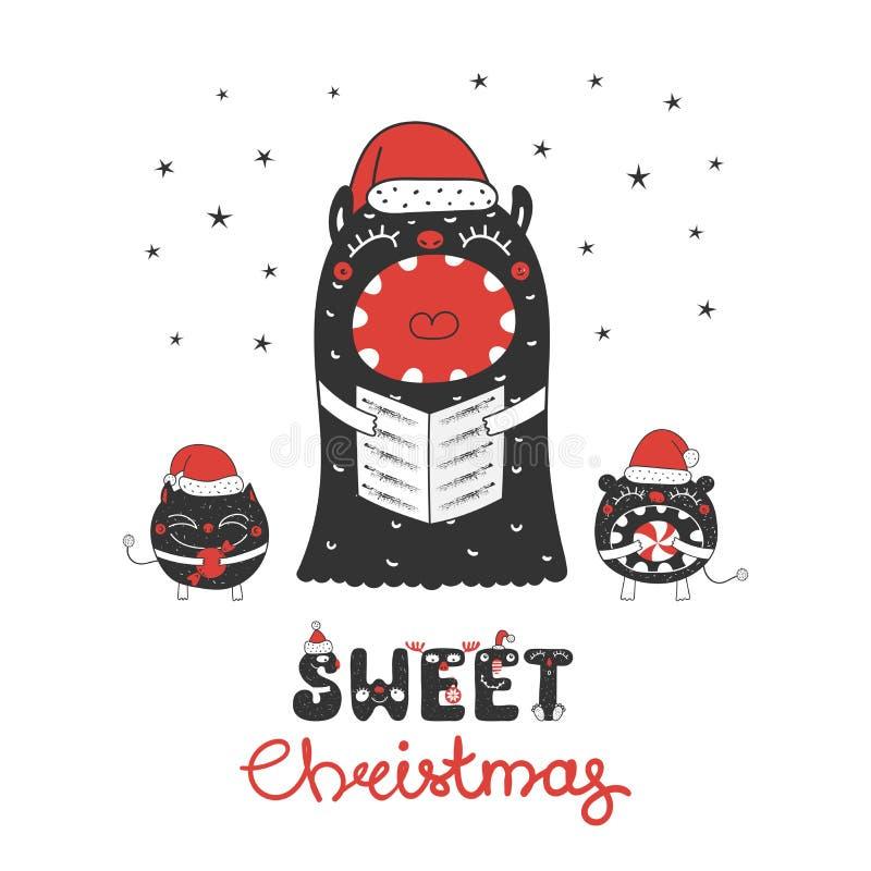 Mostri svegli e divertenti di Natale illustrazione di stock