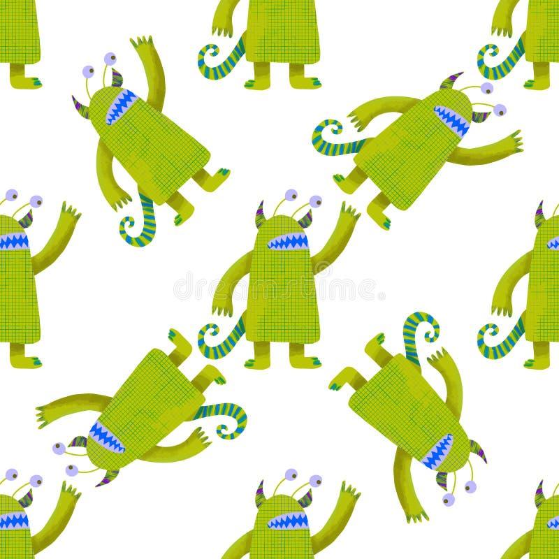 Mostri verdi svegli del modello senza cuciture Scherza l'illustrazione grafica carta da parati, carta da imballaggio Elemento di  illustrazione vettoriale