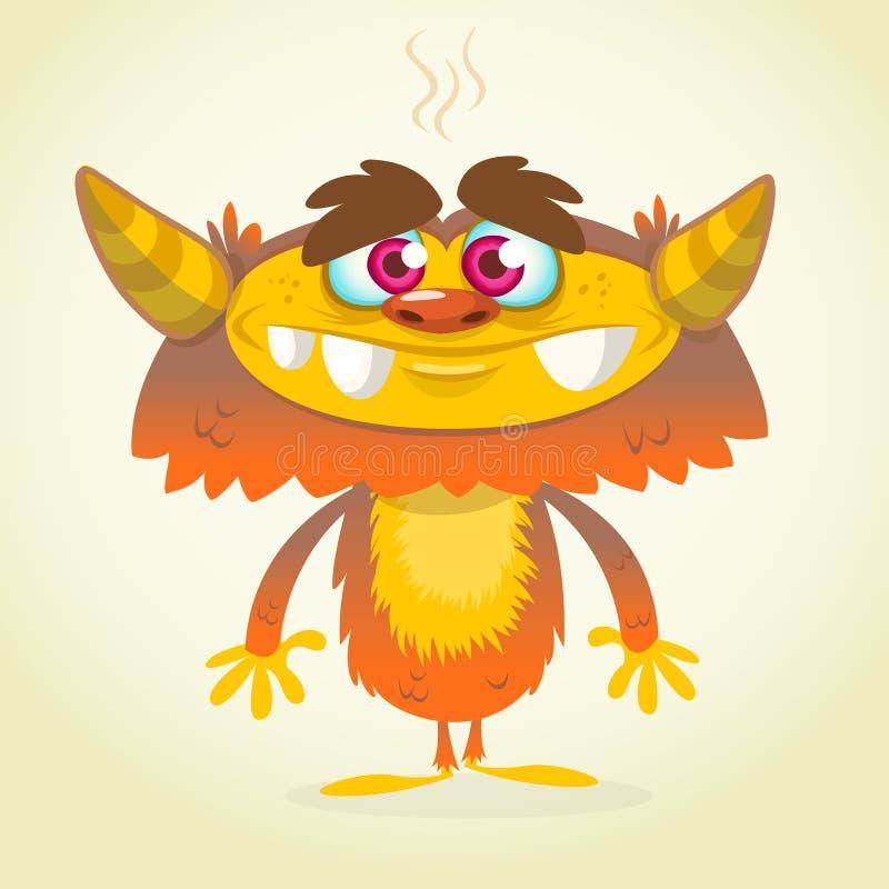 Mostro arancio e lanuginoso del fumetto felice Mostro di vettore di Halloween royalty illustrazione gratis