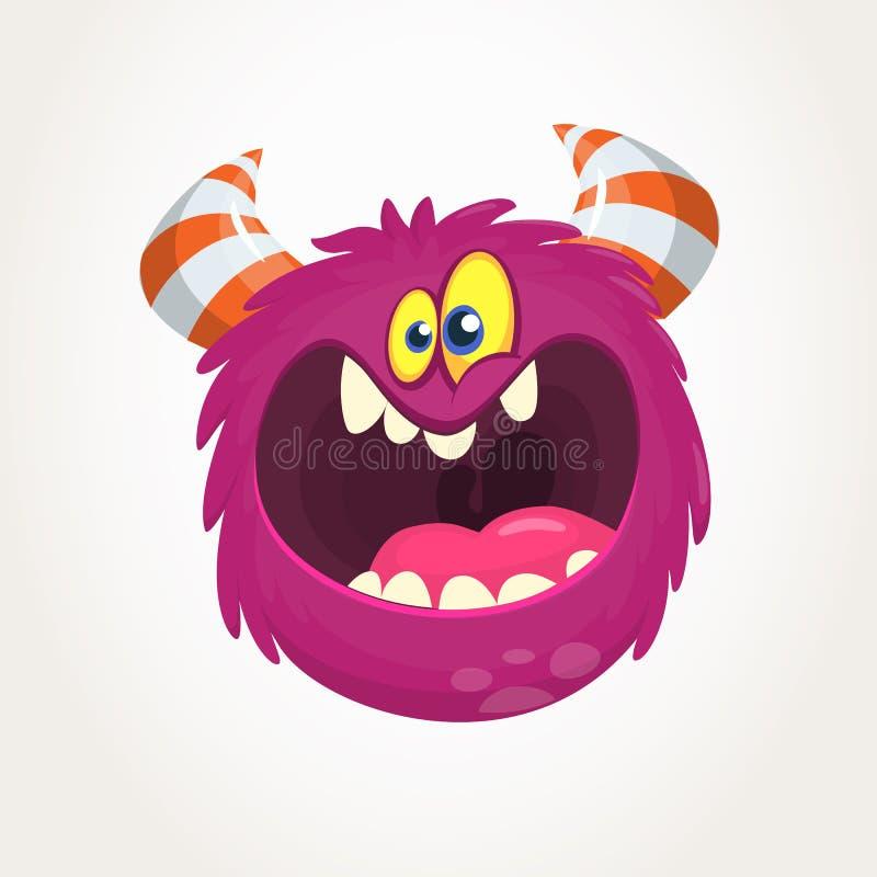 Mostro arrabbiato di rosa del fumetto che grida Urlo dell'espressione arrabbiata del mostro Illustrazione di vettore di Halloween illustrazione di stock
