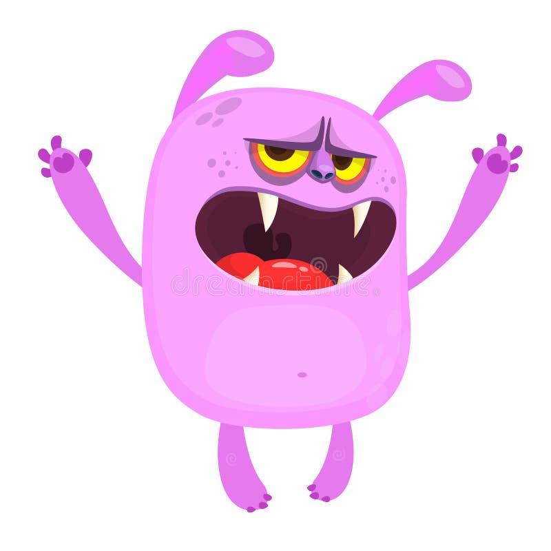 Mostro arrabbiato di rosa del fumetto Illustrazione sveglia della mascotte del mostro di vettore per Halloween illustrazione vettoriale