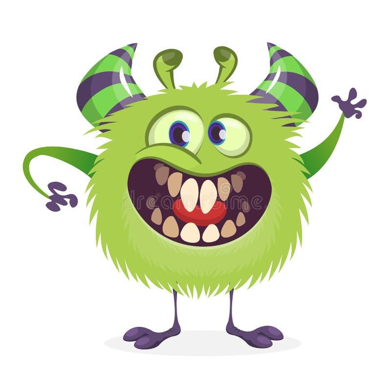 Mostro arrabbiato di verde del fumetto Illustrazione di vettore del carattere del mostro per Halloween illustrazione di stock