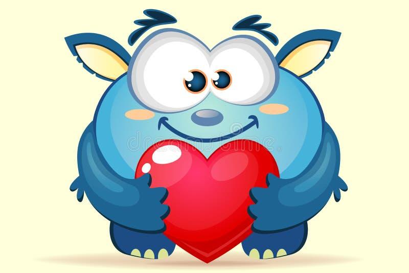 Mostro blu del fumetto sveglio con cuore illustrazione vettoriale