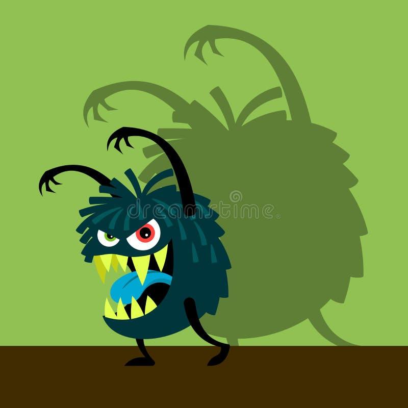 Mostro blu spaventoso con ombra illustrazione vettoriale