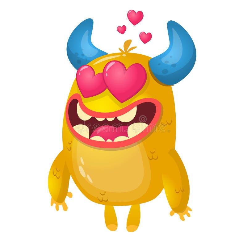Mostro cornuto giallo del fumetto nell'amore Illustrazione di vettore dei biglietti di S. Valentino della st del mostro amoroso illustrazione di stock