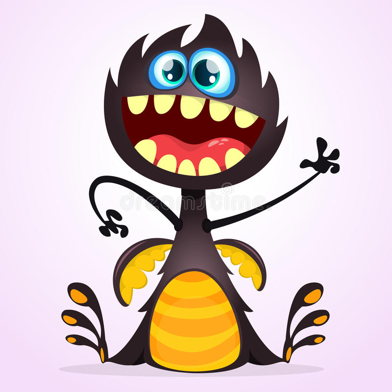 Mostro del drago del fumetto di vettore Ondeggiamento del mostro del nero di Halloween isolato royalty illustrazione gratis
