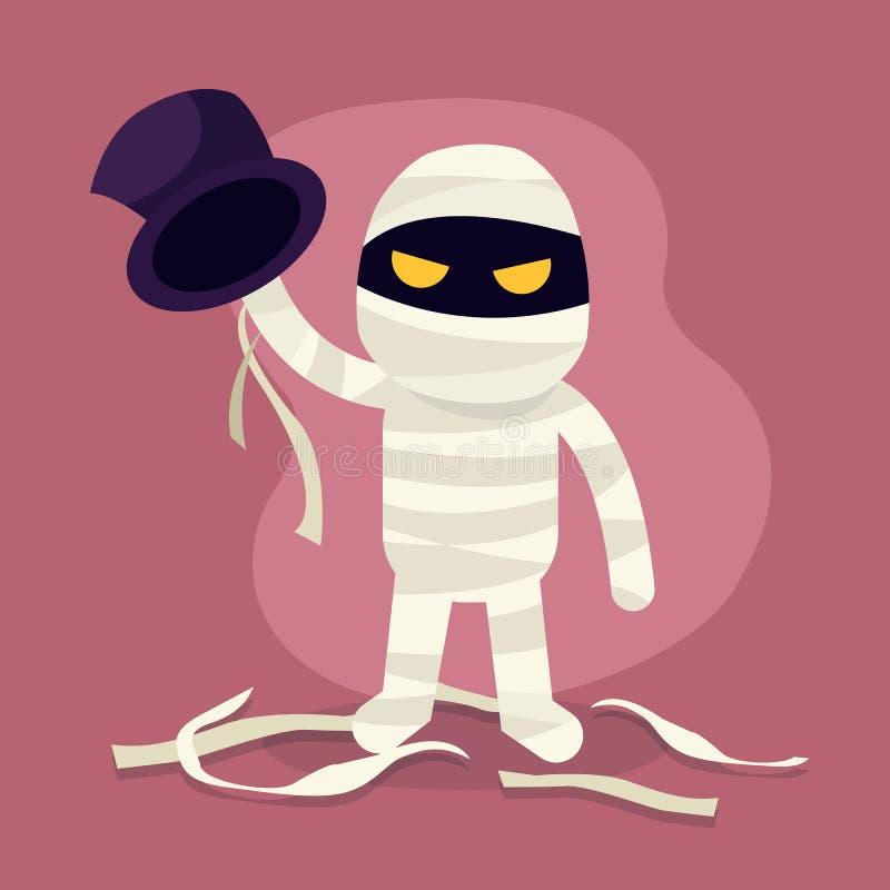 Mostro di Halloween Illustrazione del carattere di orrore della mummia, costume della mummia fumetto royalty illustrazione gratis