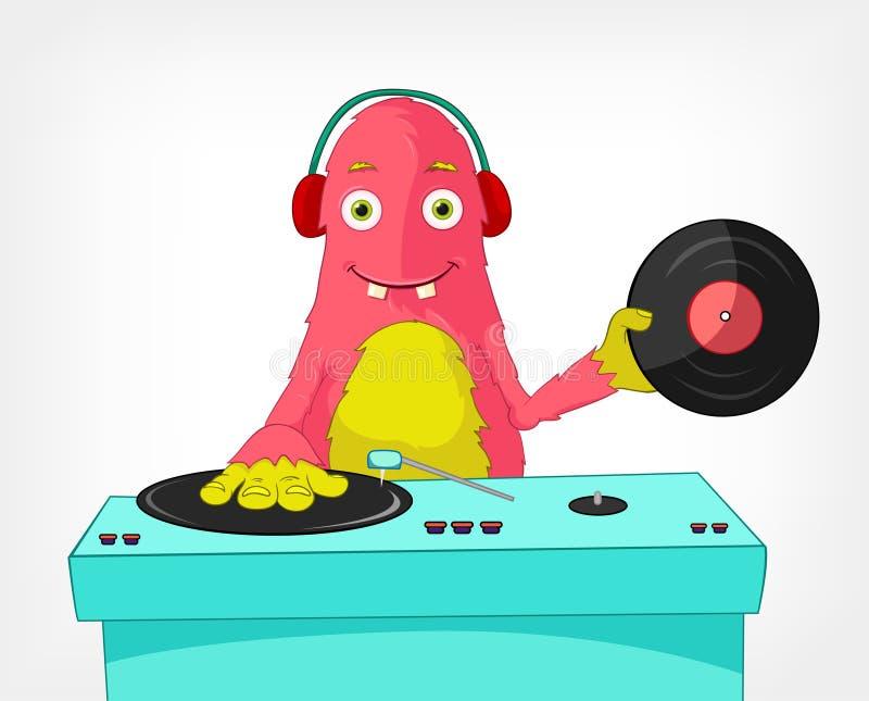 Mostro divertente. Il DJ. illustrazione vettoriale