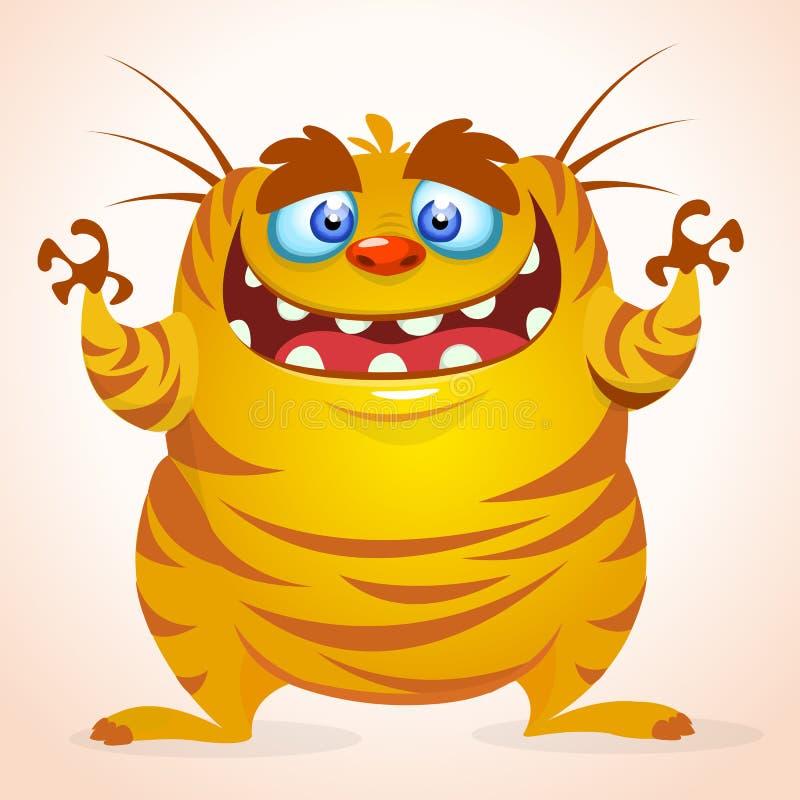 Mostro felice del fumetto Mostro a strisce di giallo di vettore di Halloween royalty illustrazione gratis
