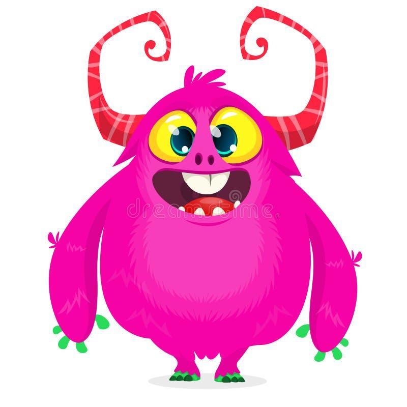 Mostro felice del fumetto Mostro simile a pelliccia rosa di Halloween Grande raccolta dei mostri svegli Carattere di Halloween illustrazione di stock