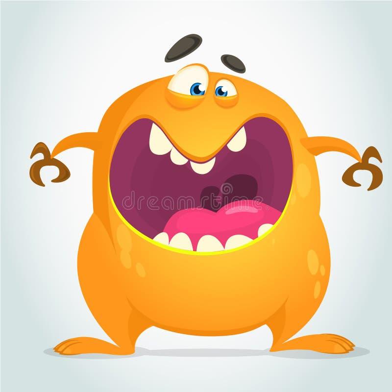 Mostro fresco arrabbiato del grasso del fumetto Carattere arancio del mostro di vettore illustrazione vettoriale