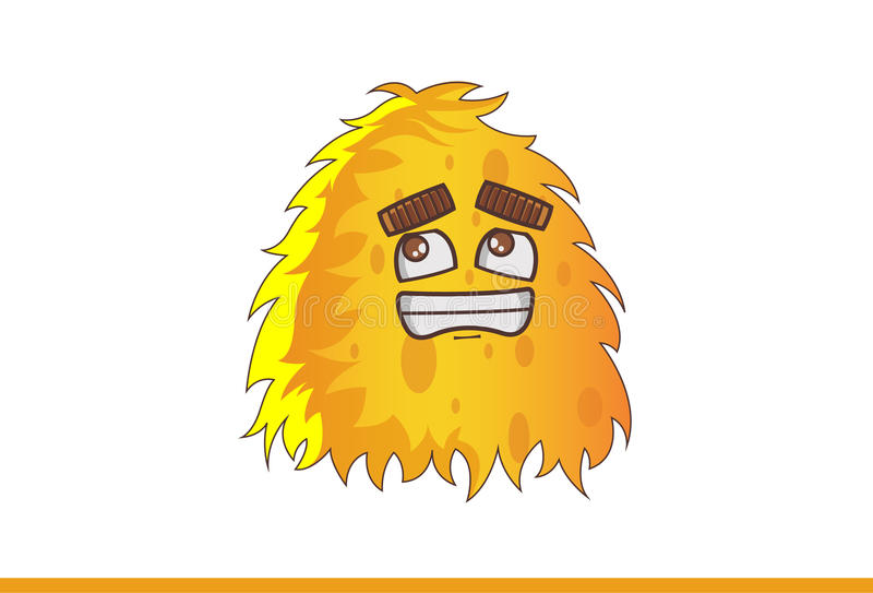 Mostro giallo sveglio spaventato illustrazione di stock