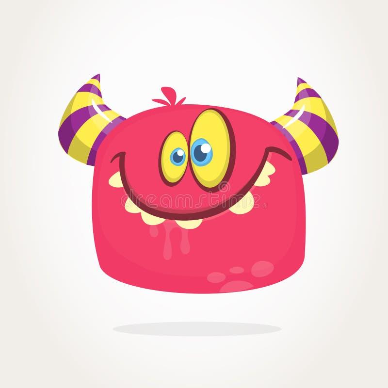 Mostro peloso del fumetto felice con i grandi denti Icona simile a pelliccia rosa del mostro di Halloween di vettore royalty illustrazione gratis