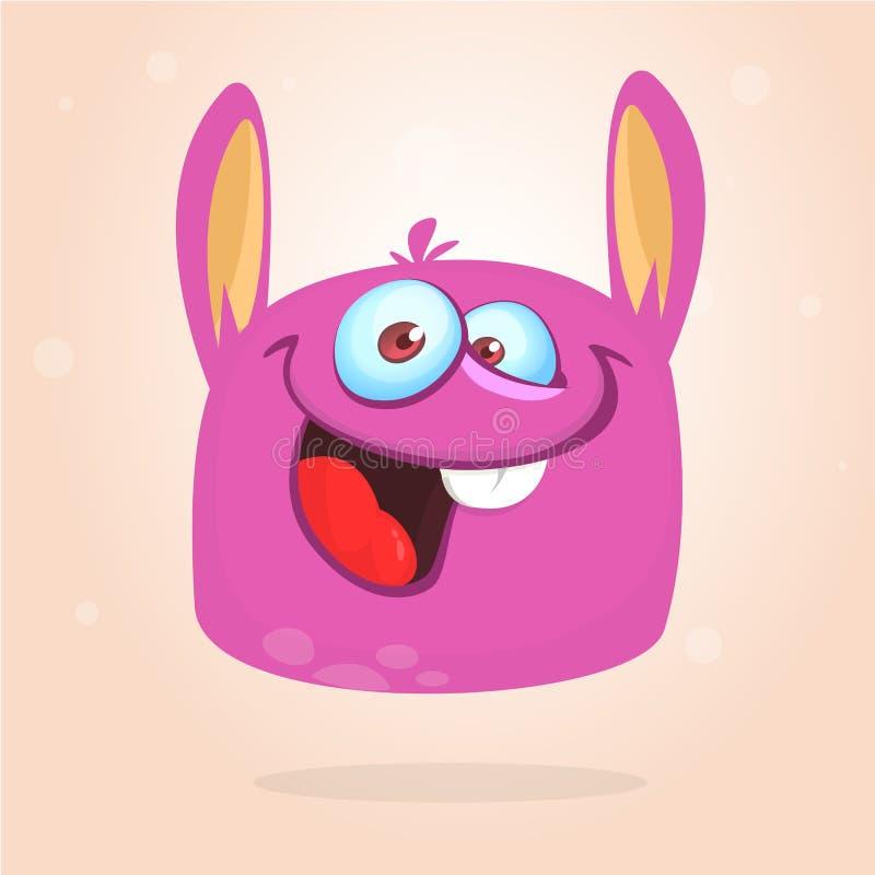 Mostro peloso del fumetto felice Mostro simile a pelliccia rosa di Halloween di vettore illustrazione vettoriale