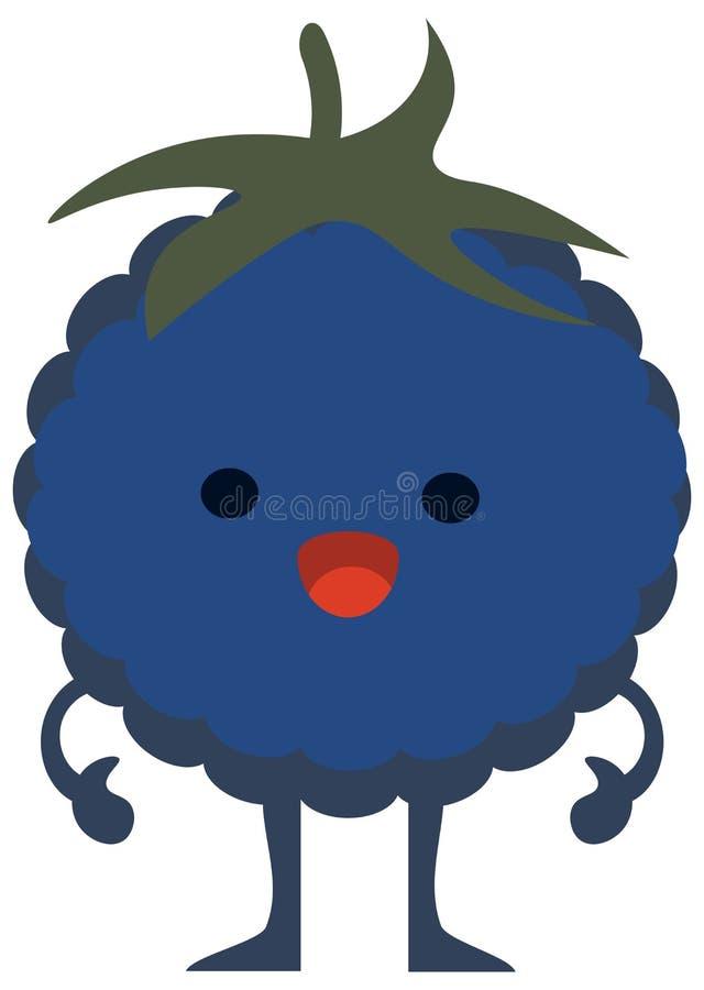 Mostro piano della mora degli agrumi dell'insieme di colore di estate di scarabocchio del fumetto della stampa felice illustrazione vettoriale