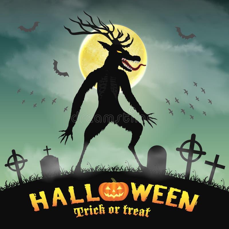 Mostro spaventoso di wendigo di Halloween nel cimitero di notte illustrazione di stock