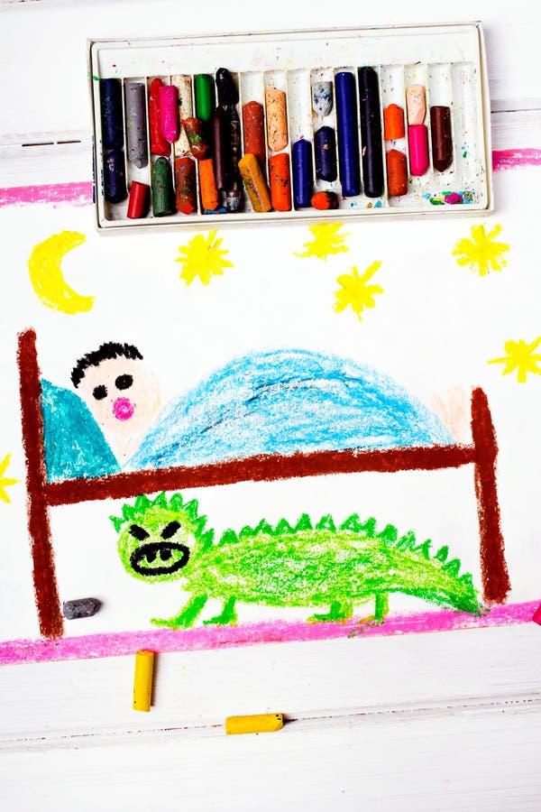 Mostro spaventoso sotto il letto dei bambini illustrazione vettoriale