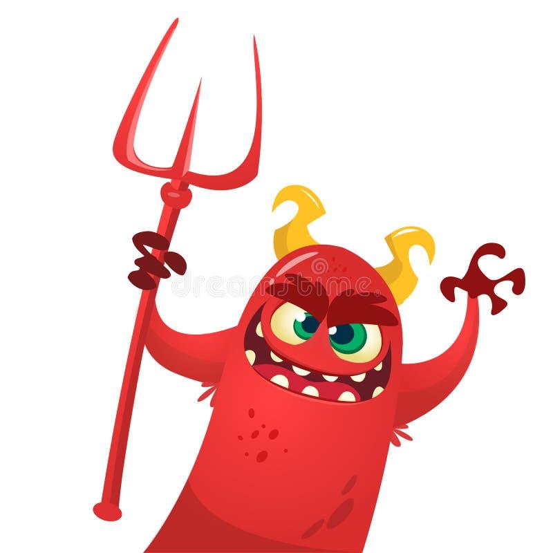 Mostro sveglio del diavolo Personaggio dei cartoni animati di vettore di Halloween illustrazione di stock