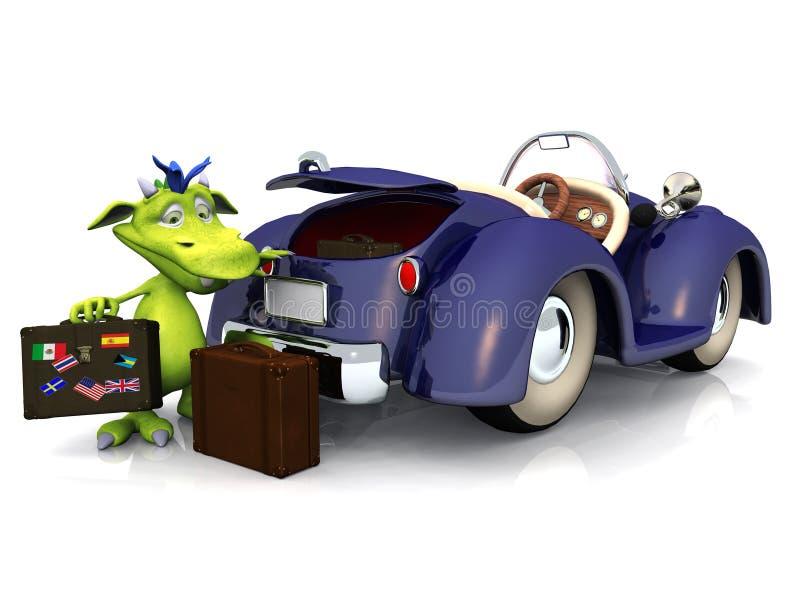 Mostro Sveglio Del Fumetto Che Va Su Un Viaggio Dell Automobile. Fotografia Stock
