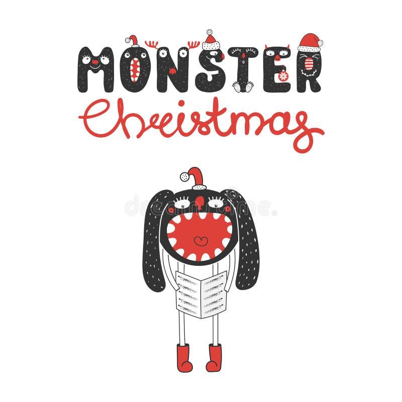 Mostro sveglio e divertente di Natale illustrazione vettoriale