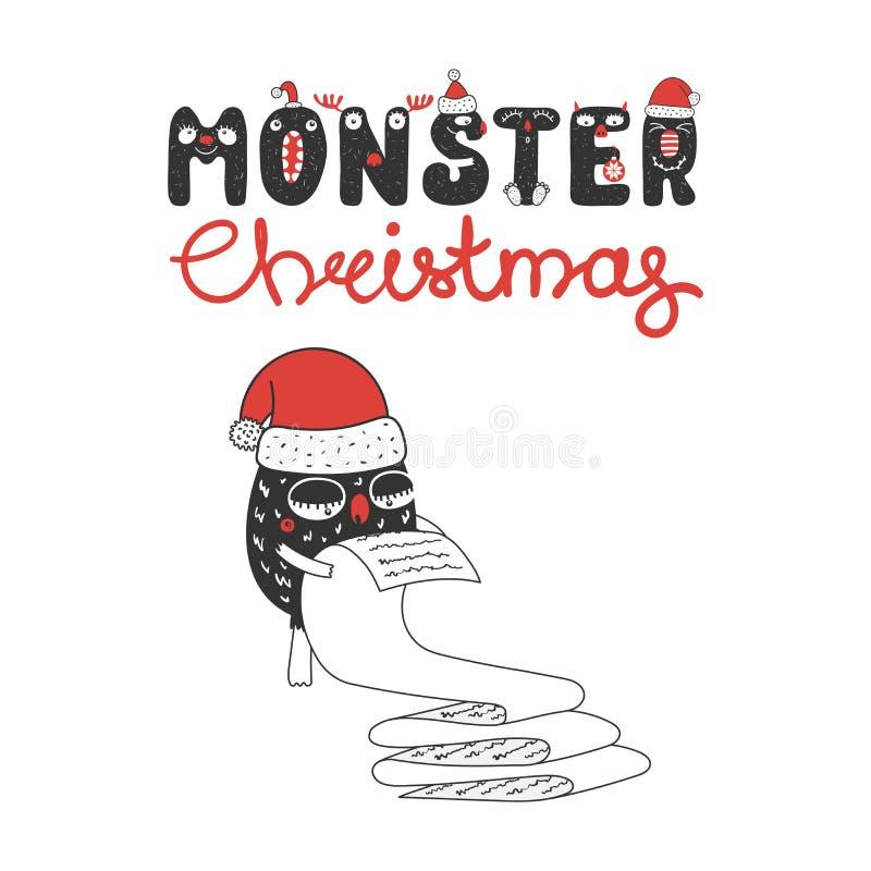 Mostro sveglio e divertente di Natale royalty illustrazione gratis