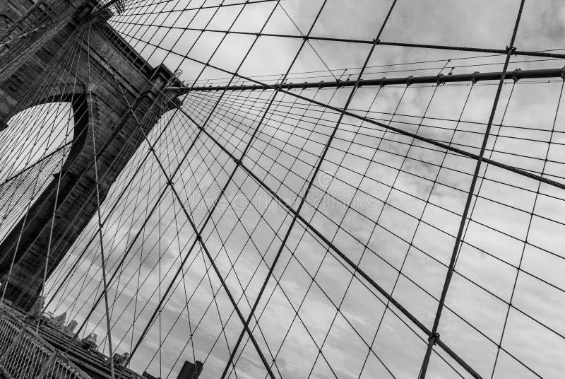 Mostu Brooklyńskiego Formalnie Depeszuje Krajobrazowy aspekt - czarny i biały fotografia stock
