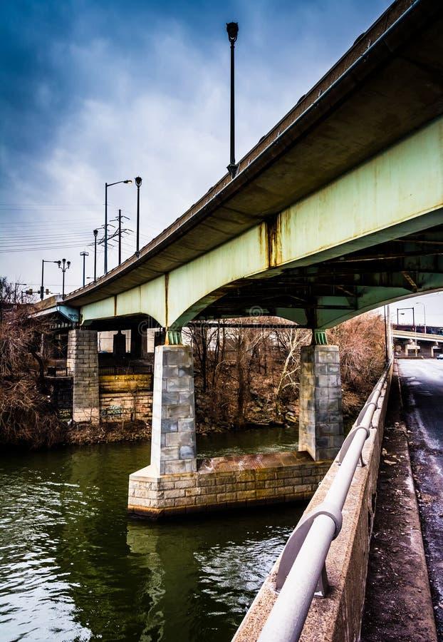 Mosty nad Schuylkill rzeką w Filadelfia, Pennsylwania zdjęcie stock