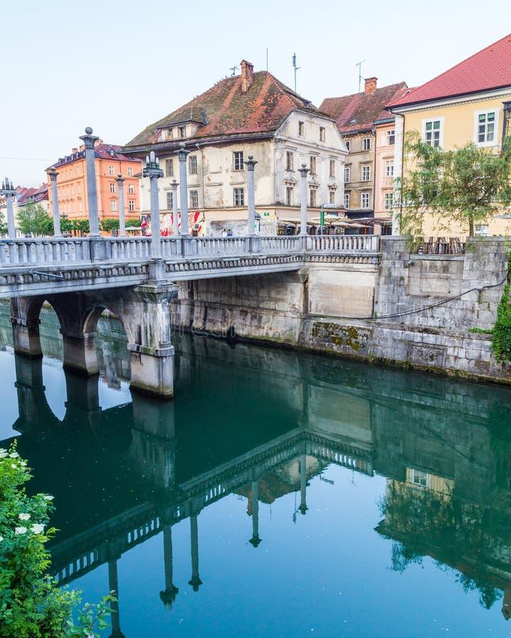 Mosty wzdłuż Ljubljana rzeki w ranku fotografia royalty free