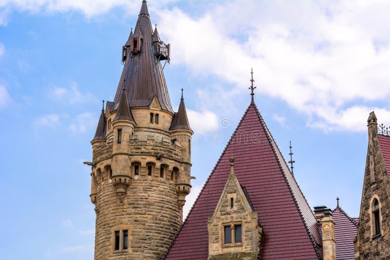 Moszna城堡的细节在波兰西南部,城堡是一个最壮观 库存照片