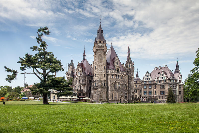The Moszna Castle, historic palace located in a small village in Moszna. royalty free stock image