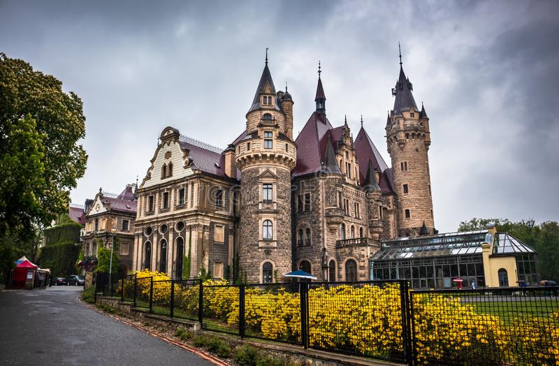 Moszna Castle located in a Moszna village royalty free stock photo